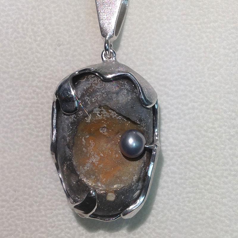 Fluss-Kiesel mit Perle, 935 Ag
